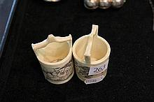 Pair of Chinese Scrimshaw Bone Miniature Well Buckets