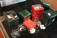 Collection of Holm Guard and Boda Glass Christmas Decorations and 3 Royal Adderly Decanter Ladles