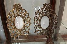 Pair of Ornate Brass Frames
