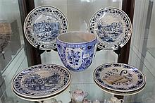 Collection of Blue and White Delft Plates and Jardiniere