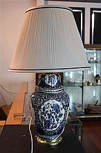 Delft Pair of Large Blue & White Bedside Lamps