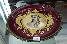 Continental Porcelain Plate with Hand Painted Miniature of Lady Mounted in Brass Stand
