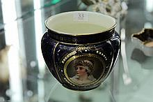 Vienna Porcelain Blue and Gilt Jardiniere with Enamelled Decoration