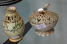 2 Small Royal Worcester Reticulated Vases (1 restored)
