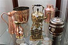 Copper and Brass Wares incl Art Nouveau Pul and Oak and EP Biscuit Barrel