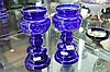 Pair of Victorian Cobalt Blue Glass Vases with Enamelled Decoration