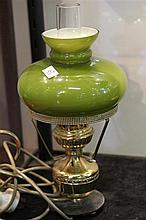 Brass and Green Glass Lamp