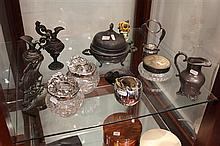 Collection of Metal Wares incl Decanter Labels, Art Nouveau Dressing Table Pieces