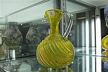 Victorian Yellow Glass Enamelled Jug