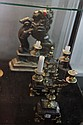 Brass Heavy Lion Figure Door Stop & a Pair of Marble Based Candelabrum