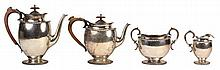 English Hallmarked Sterling Silver Four Piece Tea Set