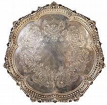 English Hallmarked Sterling Silver Victorian Salver