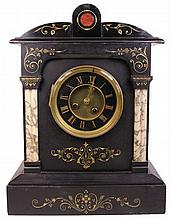 French 19th Century Marble & Slate Mantle Clock
