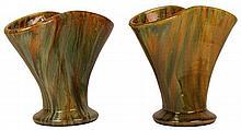 John Campbell Pair of Yellow & Green Glaze Fan Shaped Vases