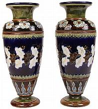 Doulton Lambeth Pair of Stoneware Vases by Emily J Partington