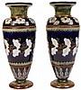 Doulton Lambeth Pair of Stoneware Vases by Emily J Partington