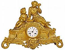 French 19th Century Gilt Figural Clock