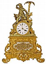 French Bronze Gilded Mantle Figural Clock