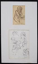 Donald Friend (1915 - 1989) (2 works) - Smoking Man & Pub Sketches 19.5 x 12cm & 29 x 21cm