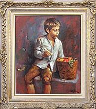 Marc Rebierre (French 1934 -) - Boy with Fruit Basket 53 x 44cm