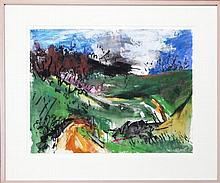 Peter Giffen (1948 -) (2 works) - Road to Wombat Creek & Doctors Corral 50 x 65.5cm each