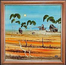 Nick Petali (1932 - 2014) - Outback Homestead 63 x 63cm