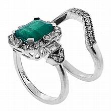 AN EMERALD & DIAMOND RING SET; featuring an approx. 2.30ct step cut emerald to a surround of round brilliant and baguette diamonds,...