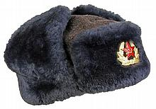 Russian Officer's Ushanka Winter Fur Cap, Army Tanker Helmet & Tunic