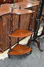 Victorian Inlaid Walnut Corner Whatnot