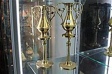 Pair of Brass Church Vases on Stands