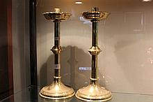 Pair of Brass Church Candlesticks