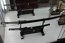 Pair of Replica Samurai Swords on Stands