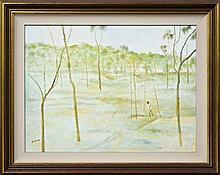 Ray Austin Crooke (1922 - ) - Goldmine, Palmer River 44.5 x 60cm