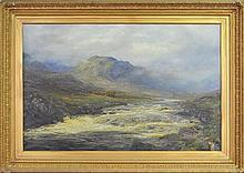 William Lakin Turner (1867 - 1936) - A Spate On The Lang, Perthshire 80 x 126cm