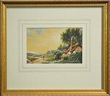 Herbert Sidney Percy (1863 - 1932) - Collecting Firewood, Near Banstead, Surrey 15 x 24cm
