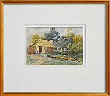 Gladstone Eyre (1863 - 1933) - Bush Hut 15 x 23cm