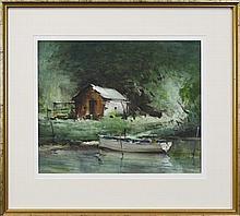 Geoffrey Keith Townshend (1888 - 1973) - The Boathouse 34 x 45cm