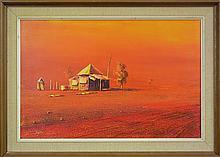 Robert Kerr (1925 - 2003) - Fringe Dweller, Croydon, North Queensland 39 x 60cm