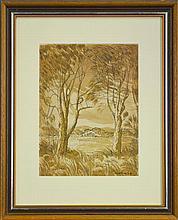 Herbert McClintock (1906 - 1985) - On The Shores of Tuggerah Lakes 33 x 25cm