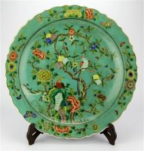 Famille Rose Plate with Original Stand with Kangxi Mark