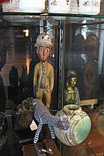 African Carved Figure of a Gent with Other Wares incl Cloisonne Bowl