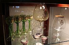 Green Gilt Glass Wine Glasses with Other Glass Ware incl an Oversized Wine Glass
