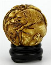 Ivory Carved Late Qing Chinese Zodiac Ball