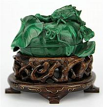 Malachite Carved Container