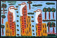 Trevor Turbo Brown (1967 -) - Three Kookaburras 54 x 80cm