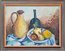 Eric Hopson (1906 - 1992) - Still Life - Bowl of Fruit with Jug and Bottle 44 x 59cm