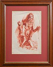 Arthur Murch (1912 - 1989) Attributed. - Study - Man & Child 34 x 24cm