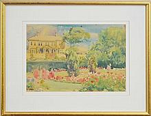 Artist Unknown - View to Residence From a Formal Garden 25.5 x 35.5cm