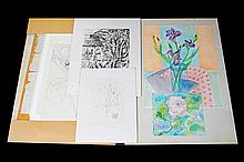 Judy Cuppaidge - Folio of (9) Drawings & Prints - Flora, Still Life's, Landscapes various dimensions