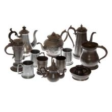 A QUANTITY OF PEWTER VESSELS,